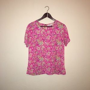 💃🏻 Rose and Olive Pink Floral Blouse - M - B